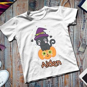 Personalized Name Halloween Wizard Cat Tshirt